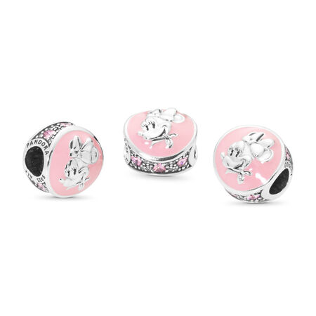 Clip Disney, Minnie rétro, émail rose bonbon, cz rose