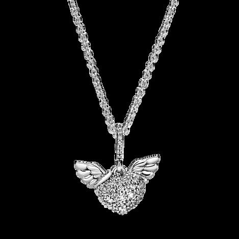 Collier avec pavé en cœur et ailes d'ange