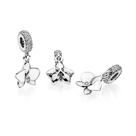 Orchid, White Enamel, Clear & Orchid CZ