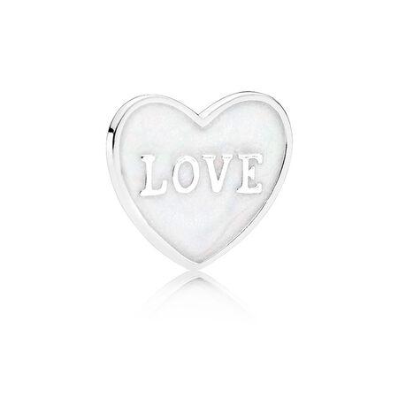 Plaque en cœur « Love », petite, argent sterling et émail