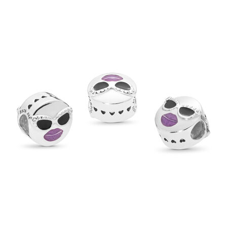 Stay Cool Charm, Black & Purple Enamel & Clear CZ, Sterling silver, Enamel, Black, Cubic Zirconia - PANDORA - #797184CZ