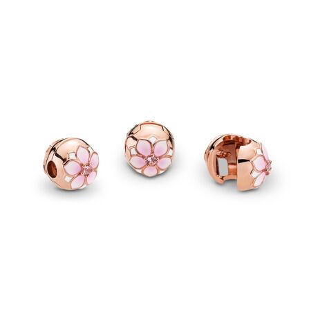 Clip Fleur de magnolia, PANDORARoseMC, cristaux roses et émaux mixtes, PANDORA ROSE, émail, Rose, Cristal - PANDORA - #782078NBP