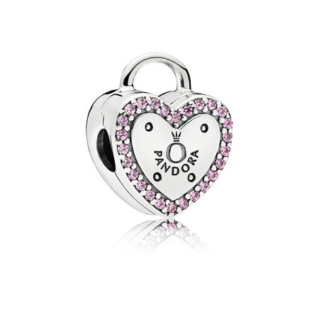 Lock Your Promise Clip, Fancy Fuchsia Pink CZ