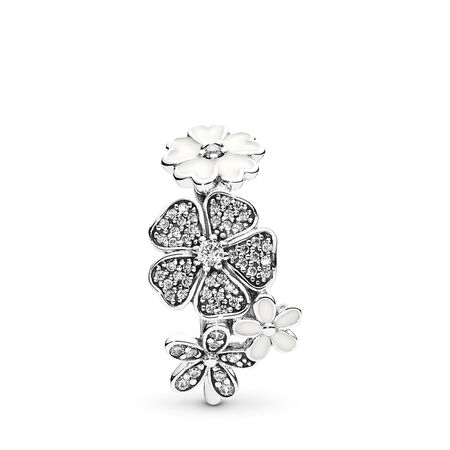 Shimmering Bouquet, White Enamel & Clear CZ