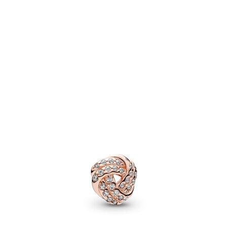 Sparkling Love Knot Petite, PANDORA Rose™ & Clear CZ, PANDORA Rose, Cubic Zirconia - PANDORA - #782179CZ