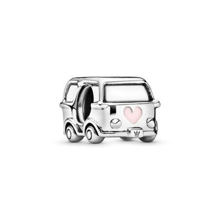 Charm Fourgonnette de camping, Argent sterling, émail, Rose, Aucune pierre - PANDORA - #797871EN160