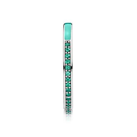 Radiant Hearts of PANDORA, Bright Mint Enamel & Royal Green Crystals