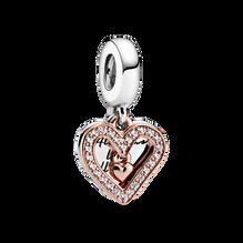 Charm-pendentif en cœur dessiné à main levée scintillante
