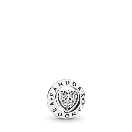 PANDORA Signature Heart Petite Charm, Sterling silver, Cubic Zirconia - PANDORA - #797048CZ