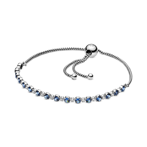 Blue and Clear Sparkle Slider Bracelet