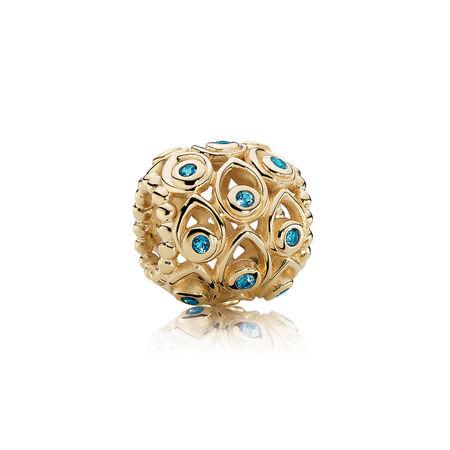Ocean Treasures, Deep Blue Topaz & 14K Gold, Yellow Gold 14 k, Turquoise, Topaz - PANDORA - #750817TPP
