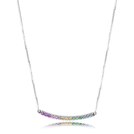 Limited Edition Multi-coloured Curved Bar Necklace