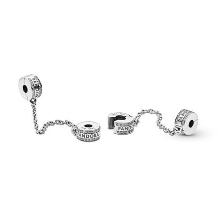PANDORA Logo, Clear CZ, Sterling silver, Silicone, Cubic Zirconia - PANDORA - #792057CZ