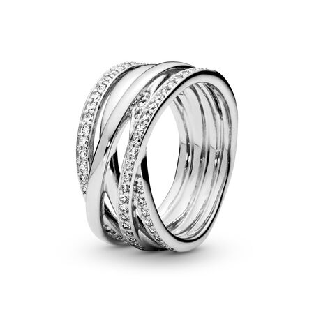 Sparkling & Polished Lines Ring, Sterling silver, Cubic Zirconia - PANDORA - #190919CZ-52