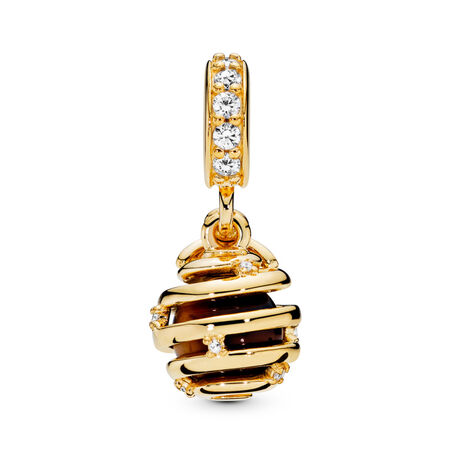 Sweet As Honey Charm, PANDORA Shine™ & Clear CZ, 18ct gold-plated sterling silver, Mixed stones - PANDORA - #767044CZ