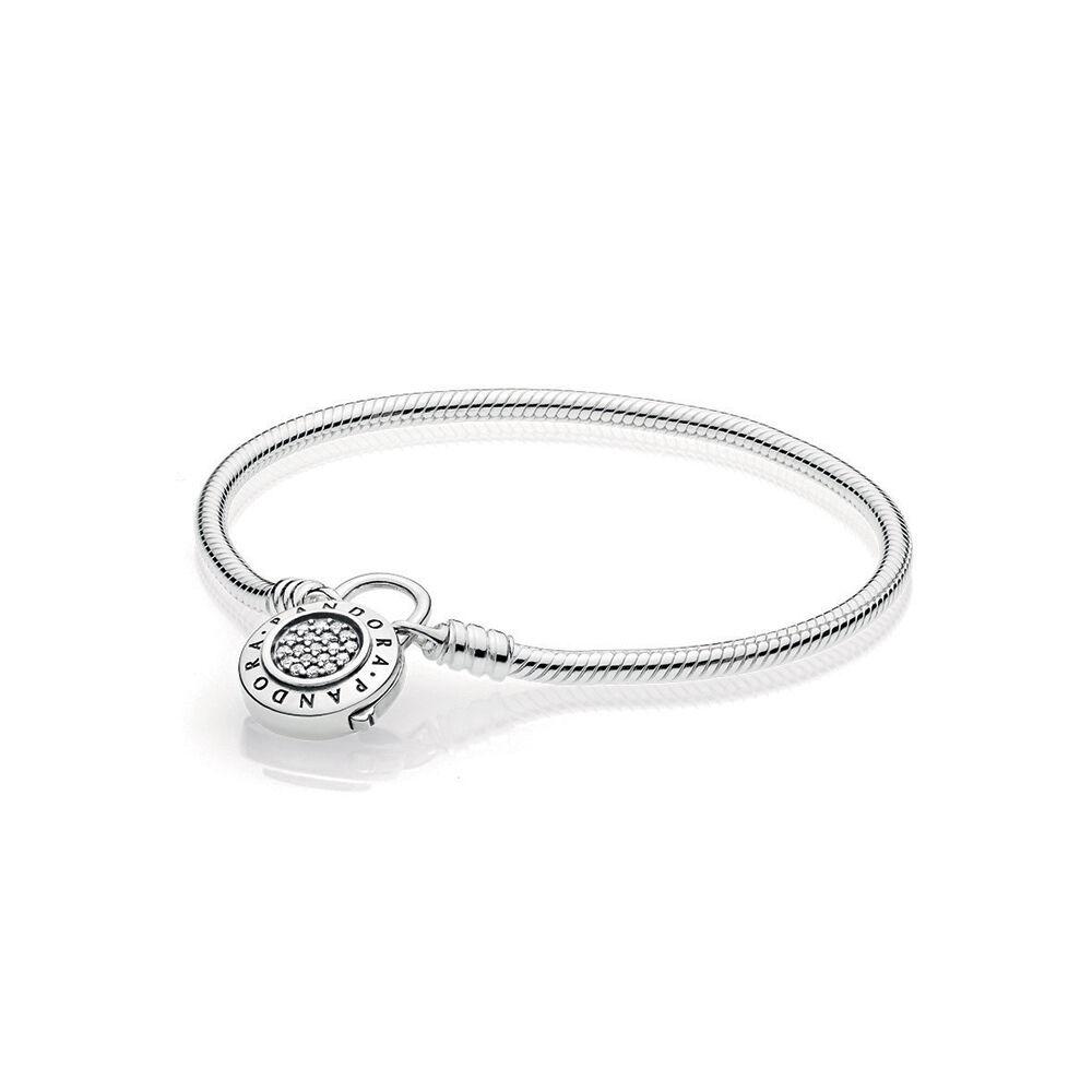 Sterling Silver Charm Bracelet Pandora Signature Padlock Clasp Clear Cz