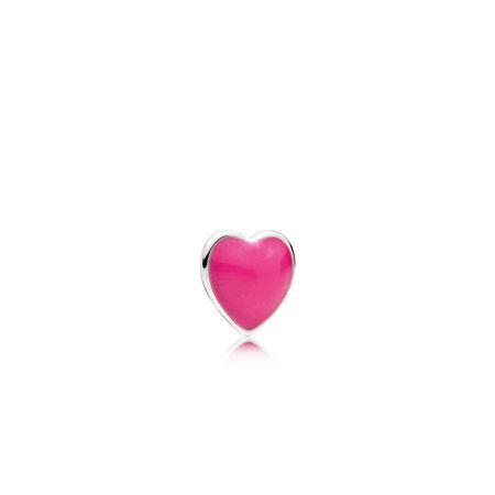 Mini cœur, émail magenta