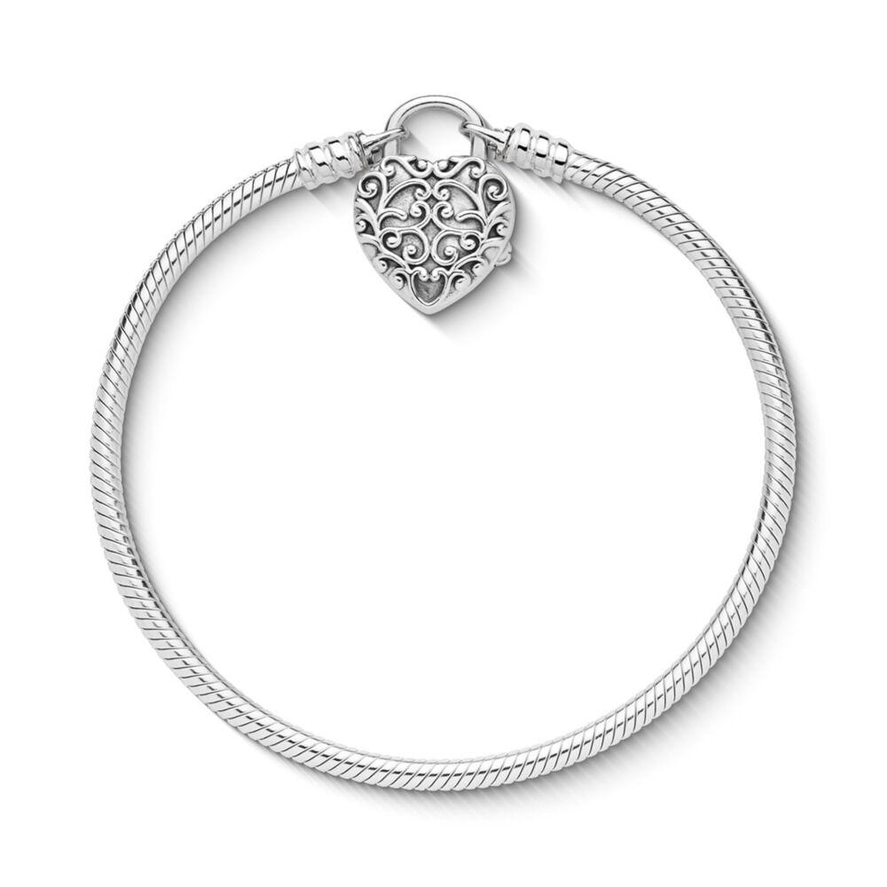 92b762ec0 Smooth Silver Padlock Bracelet, Regal Heart, Sterling silver - PANDORA -  #597602-