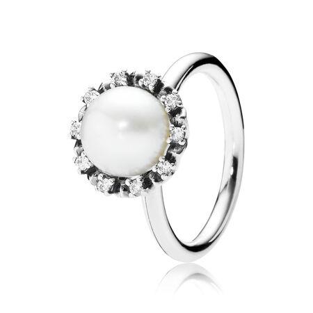 Grâce éternelle, perle blanche et cz incolore, Argent sterling, Aucun autre matériel, Beige, Pierres mélangées - PANDORA - #190916P