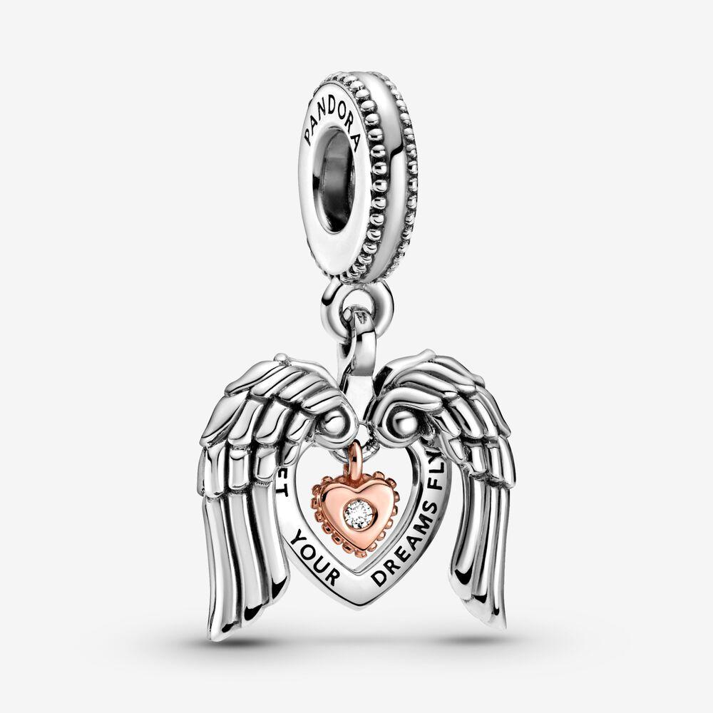 Charm-pendentif du Pandora Club 2021 Ailes d'ange et cœur ...