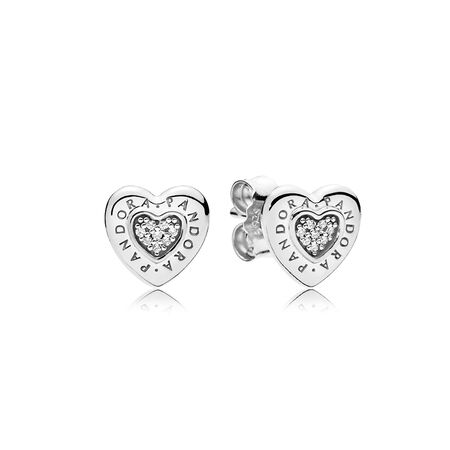PANDORA Signature Heart Stud Earrings, Clear CZ