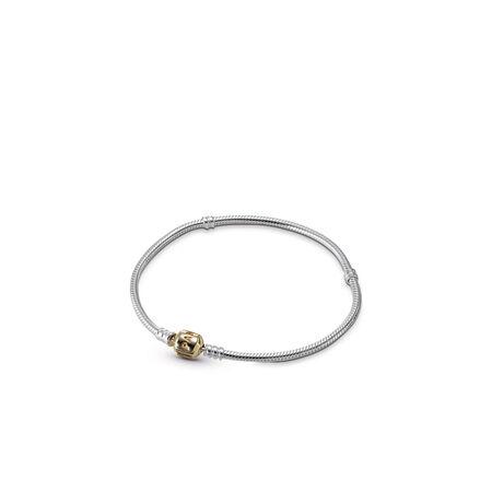 Silver Charm Bracelet With 14K Gold Clasp, Two Tone - PANDORA - #590702HG