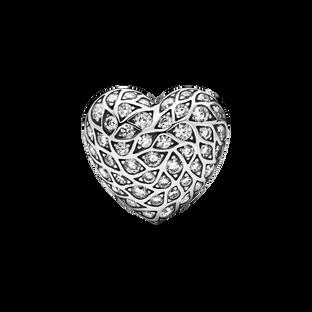Clou d'oreille simple en forme de cœur avec motif scintillant