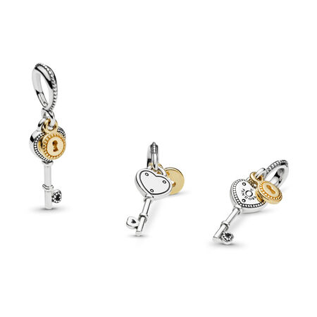 Key to My Heart Dangle Charm, Two Tone - PANDORA - #796593