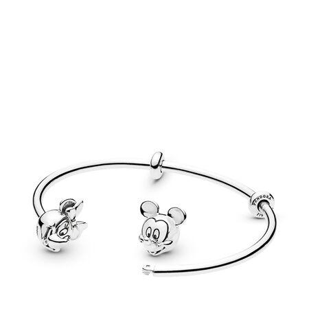 Disney, bracelet de charms rigide ouvert MickeyetMinnie