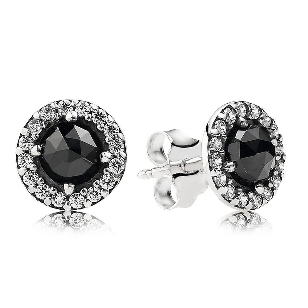 Glamorous Legacy Stud Earrings Black Spinel Cz