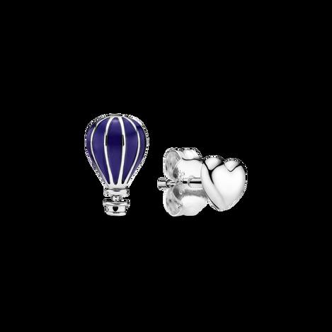 Blue Hot Air Balloon & Heart Stud Earrings