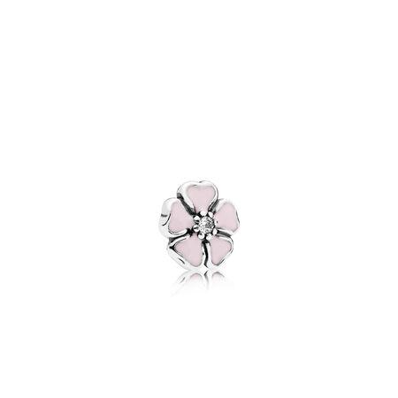 Mini fleur de cerisier, émail rose doux et cz incolore
