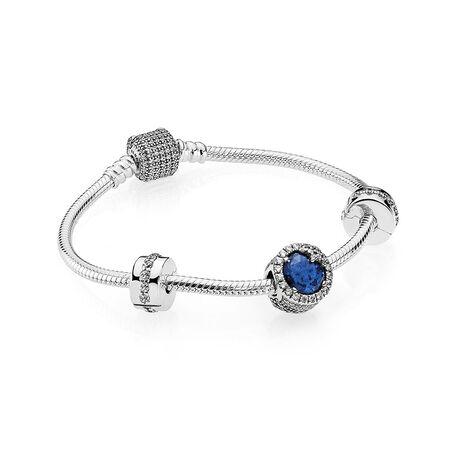 Ensemble-cadeau bracelet Éblouissant flocon, Sterling Silver, Blue - PANDORA - #B800643
