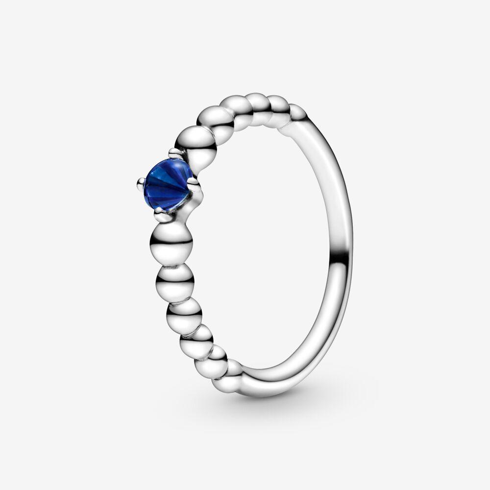 Bague perlée bleu de mer de septembre | Argent sterling | Pandora ...