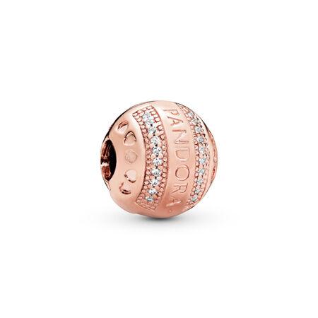 PANDORA Logo Hearts Clip, PANDORA Rose™ & Clear CZ, PANDORA Rose, Silicone, Cubic Zirconia - PANDORA - #787433CZ