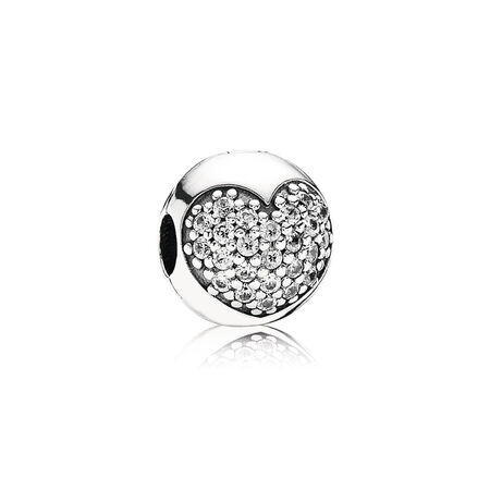 Love Of My Life Clip, Clear CZ, Sterling silver, Cubic Zirconia - PANDORA - #791053CZ