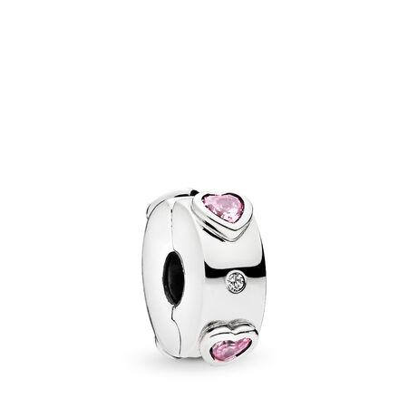 Breloque à agrafe cœurs scintillants rose, Argent sterling, Silicone, Rose, Zircon cubique - PANDORA - #796591FPC