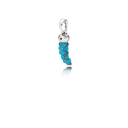 Limited Edition Italian Horn Amulet Pendant, Turquoise Enamel