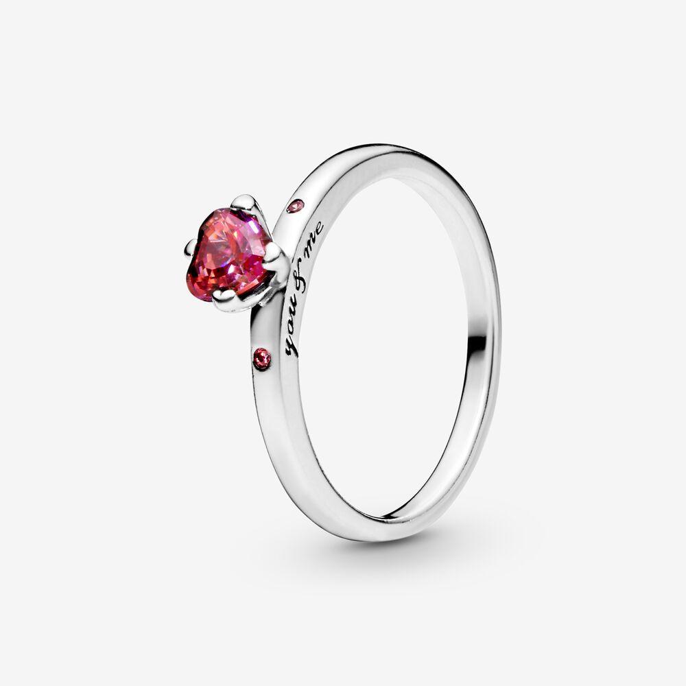 You & Me Ring with Pink Heart CZ | Argent sterling | Pandora Canada