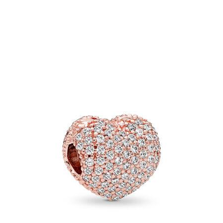 Pavé Open My Heart, PANDORA Rose™ & Clear CZ, PANDORA Rose, Cubic Zirconia - PANDORA - #781427CZ
