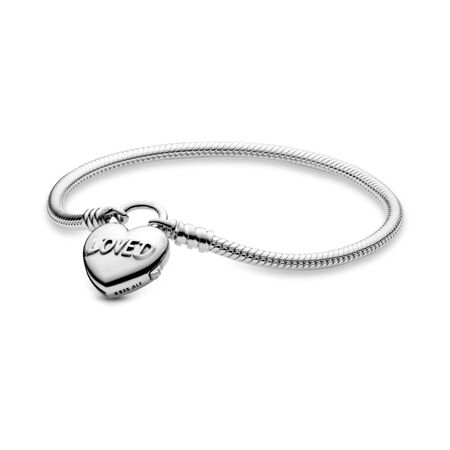 Classic Charm Bracelet with You Are Loved Heart Padlock Clasp