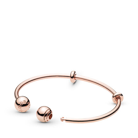 PANDORA Rose™ Open Charm Bangle, PANDORA Logo Caps