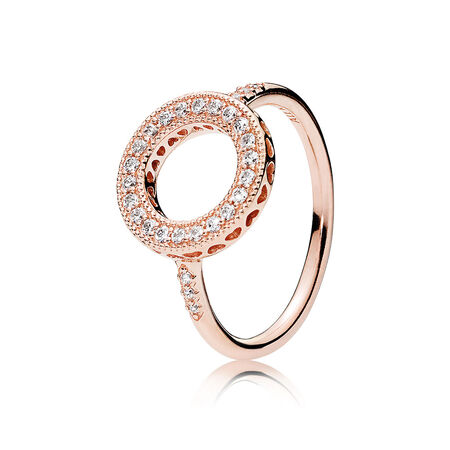 Hearts of PANDORA Halo Ring, PANDORA Rose™ & Clear CZ