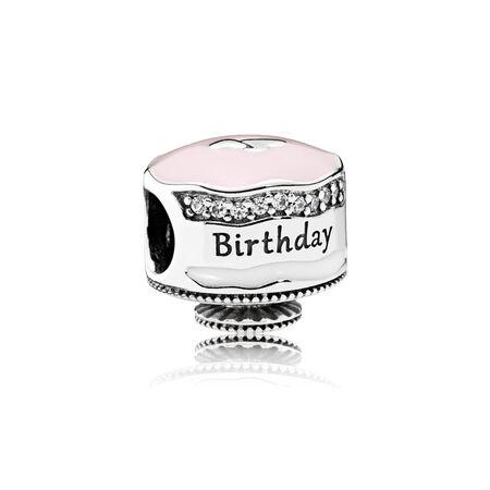 Happy Birthday Cake, Mixed Enamel & Clear CZ