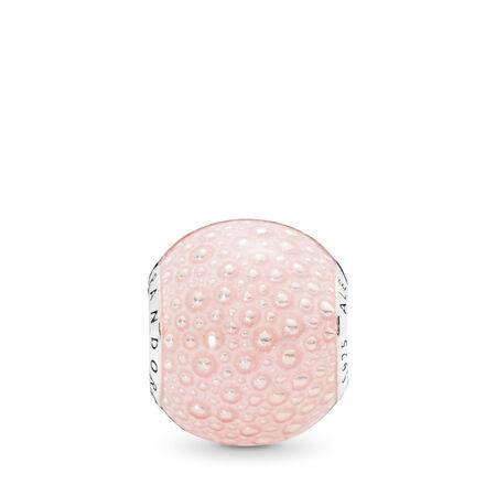 Charm Enchantement rose, émail rose transparent