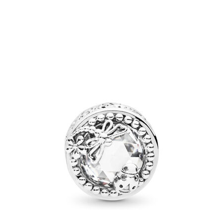 Enchanted Nature Charm, Clear CZ, Sterling silver, Cubic Zirconia - PANDORA - #797047CZ