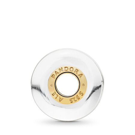 White Waves Charm, PANDORA Shine™ & Murano Glass, 18ct gold-plated sterling silver, Glass, White - PANDORA - #767160