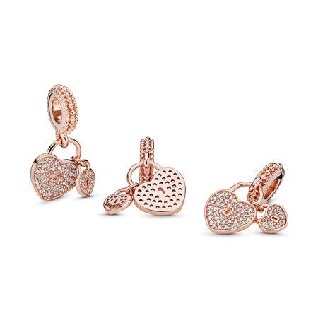 Love Locks, PANDORA Rose™ & Clear CZ, PANDORA Rose, Cubic Zirconia - PANDORA - #781807CZ