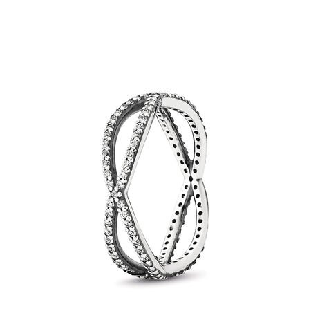 Crossing Paths Stackable Ring, Clear CZ, Sterling silver, Cubic Zirconia - PANDORA - #190930CZ