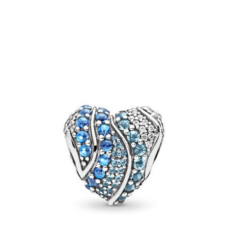 Charm Cœur aqua, cristaux aqua et cristaux bleus de Londres et cz incolore, Argent sterling, Aucun autre matériel, Bleu, Pierres mélangées - PANDORA - #797015NABMX